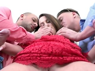 Brown-haired Chick Gets Buttfuck Internal Ejaculation In Threesome Orgy Scene