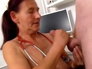 Grandmother Linda Is A Dirty Nurse Prostate Milking A Man Sausage At Sperm Hospital