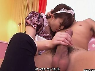 Kawaii Japanese Maid Hikaru Ayami Is More Than Ready To Gargle Tasty Dick
