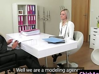 Blonde Agent Shows Customer How To Fucktoy Muff