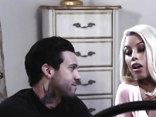 Dude With Tattoed Assets Fucks Ravishing Blonde Wifey In The Bedroom