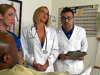 Amy Brooke, Krissy Lynn And Lily Labeau Are Doing The Routine Check Up Of Patient. They Find Prince Yahshuas Dick Very Interesting. Nasty Voodoo Joins