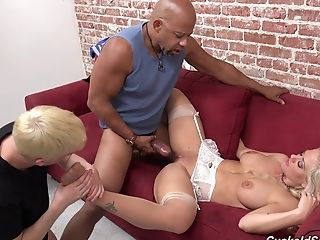 Hotwife Bf Sees As Hot Blonde Rails A Big Black Fuckpole