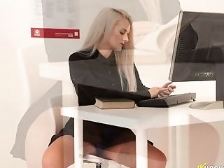 Serious Looking Office Nymphomaniac Dolly P Flashes Her Upskirt In The Office