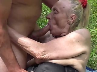 Horny 85 Years Old Granny Gets Extreme Rough Outdoor Fucked By Her Youthful Toyboy