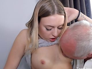 Older Dude Feed His Blonde Neighbor Dany With His Strong Pecker