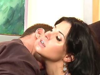Lengthy Haired Latina Vixen Rebecca Linares Rails Dick On The Couch