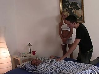 His Blonde Gf Spreads Gams For Oldman