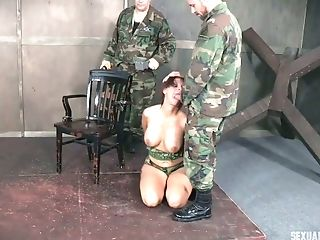 Manacled To The Tabouret Enslaved Nymphomaniac Has To Suck Two Studs' Spunk-pumps