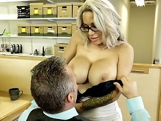 Magnificent Matures Blonde Woman With Gigantic Boobies Fucks Her Colleague