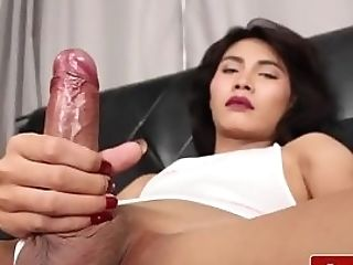 Real T-girl Jerking Off Until A Warm Finish