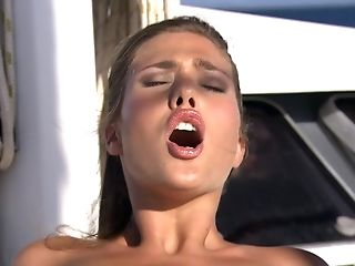Tarra Milky And Another Stunner Squeal While Guys Bang Their Butts Outdoors