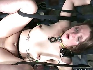 Non-traditional Restrain Bondage And Lewd Harassment With A Subjugated Nymphomaniac Nora Riley