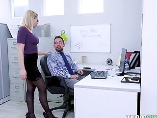 Nerdy Blonde Assistant Zoey Monroe Takes One Black And One Milky Man Meat